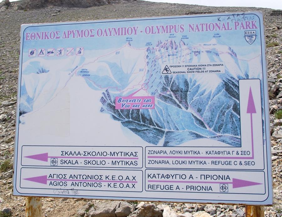 карта маршрутов Олимпа